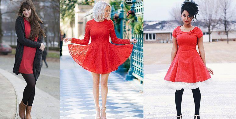 С чем сочетать красные платья?